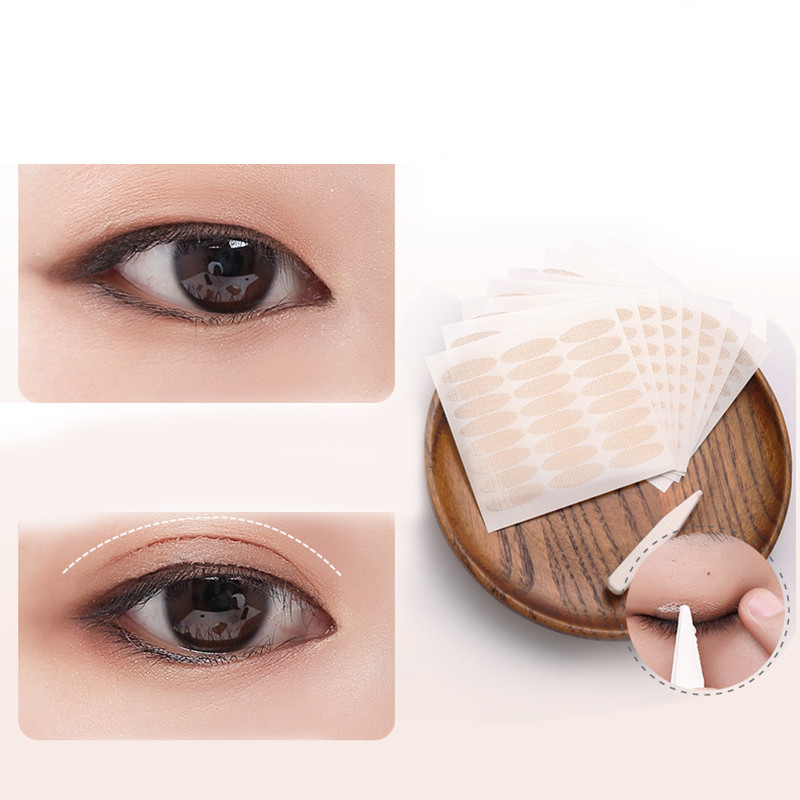 240pcs/5packs Gauze Mesh Lace Invisible Double-fold Eyelid Sticker Transparent Invisible Self-adhesive Eyelid Tape Sticker