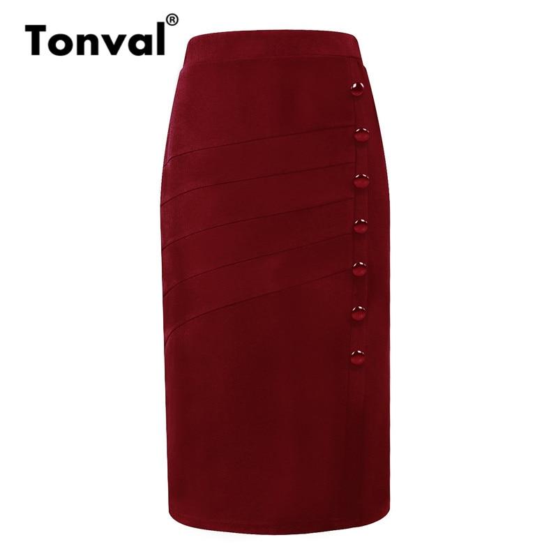 Tonval Vintage Women Office Bodycon Skirts Burgundy Elegant Buttons OL Ladies Skirts 5XL Midi Pencil Skirt