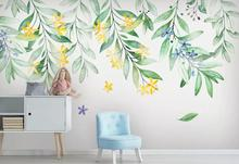 Private custom hand-painted Nordic watercolor flowers, leaves TV sofa living room bedroom background wallpaper mural