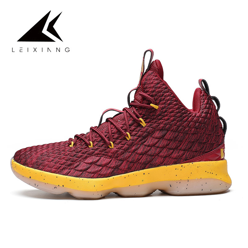 low priced 2457e fa732 Plus Size Lebron Basketball Shoes Lace-up Shockproof Basket Femme Athletic  Outdoor Sport Sneakers 2019 James New Arrival 13 &15