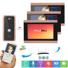 7 дюймов 3 мониторы проводной Wi Fi видео телефон двери дверные звонки домофон системы с 1000TVL проводной домофон с камерой видеодомофон