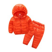 Children's Clothing Set 2-7 Year Old Girls Boys Jacket Hooded Cotton Parka With Pants Warm Outerwear Winter Clothing Snow Wear