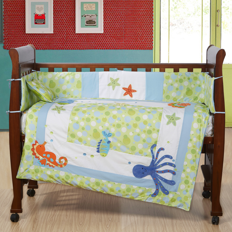 7PCS embroidery baby crib bedding set cute baby bumper set cot sheets  ,include(bumper+duvet+sheet+pillow) promotion 6pcs baby bedding set cot crib bedding set baby bed baby cot sets include 4bumpers sheet pillow