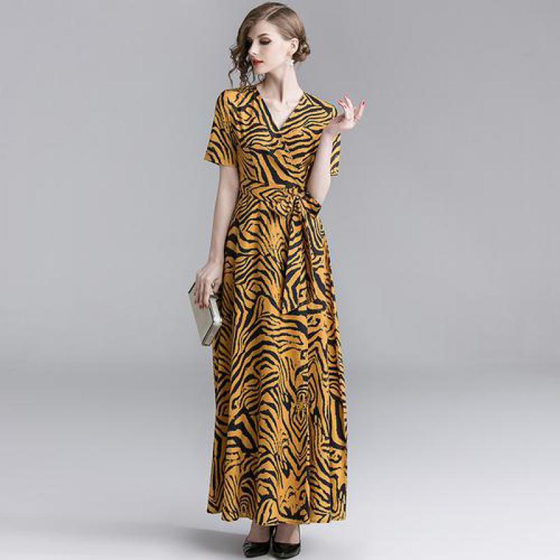 Womens Temperament Yellow Leopard Print High Waist Slim Print Dresses 2019 New Females Fashion Trend Sexy V Neck Bandage Dresses