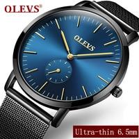 OLEVS Top Brand Quartz Watches For Men Business Ultrathin Watchcase Mesh Steel Strap Male Clock Waterproof