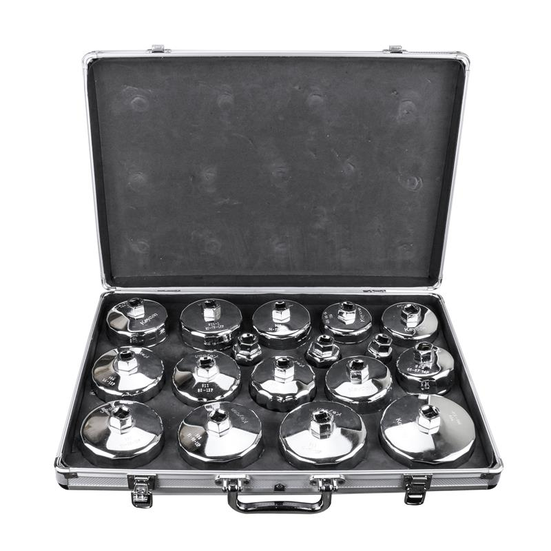 Oil Filter Wrench Universal Auto 17 PCS Storage Case Cap Housing Cover Engine Oil System Tool Kit Fits Engines Aluminum Alloy racing new oil cap engine cover fuel for mitsubishi evo