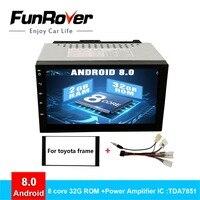 Funrover 2 DIN android8.0 Car DVD GPS for Toyota Terios Old Corolla Camry Prado RAV4 Universal radio wifi Capacitive 7 inch rsd