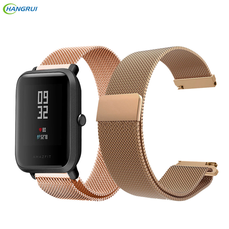 HANGRUI 20MM For xiaomi huami Bip BIT PACE Lite Youth Smart Watch Band Replace Metal Strap Wristband For Huami Amazfit Bip bands 20mm milanese loop stainless steel watchband for xiaomi huami amazfit bip bit pace lite youth smart watch band wristband strap