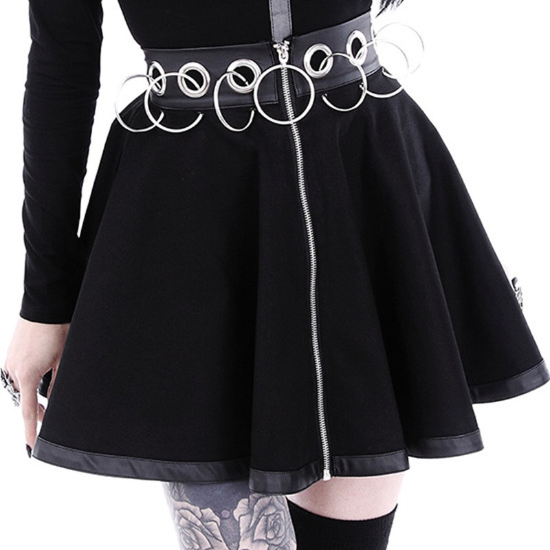 Skirts Womens Zipper Hollow Out Iron Ring Gothic A-line Mini Skirt High Waist Black 2019 Streetwear Cool Chic Female Club Wear