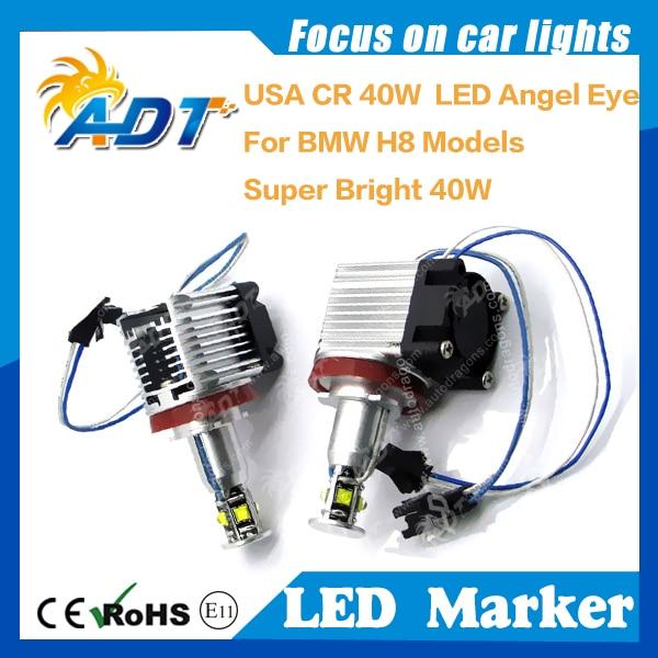 40W Canbus Angel Eyes Xenon Headlight Cr LED Marker Pure White for BMW E87 E82 E90 LCI E91 E92 E93 E60 E61 X1 X5 X6 H8 E92 80w h8 angel eyes led marker xenon white 7000k for bmw e90 e92 x5 e71 x6 e82 m3 e60 e70