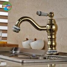 Роскошная керамическая латунь Палуба крепление одной ручкой изогнутые Ванная комната Кухня мыть коснитесь с горячей и холодной воды