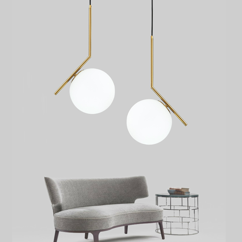 Poste bola de cristal creativa moderna luminaria colgante norbic breve hogar deco comedor de oro E27 bombilla LED lámpara colgante