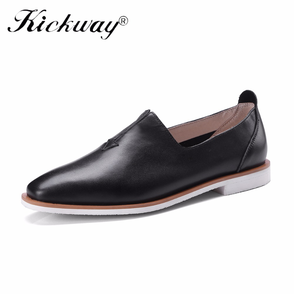 2018 New Genuine Leather Shoes Women Brogues Oxfords Flat Heels Round Toe Handmade Women Casual Shoes Black White Leisure Shoes цены онлайн