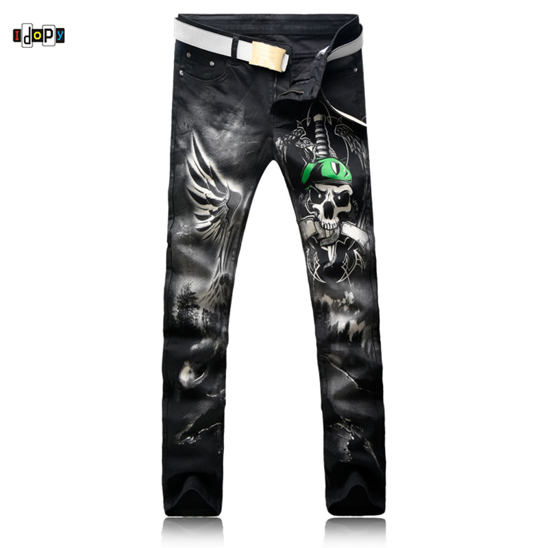 Idopy Fashion Men's Skull Printed Jeans Hip Hop Mens Color Pattern Black Denim Pants Five-Pocket Jean Trousers For Men