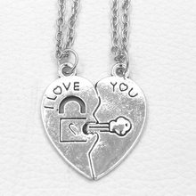New Fashion Style 2pcs/set Cordate Jewelry Best Friends Forever Necklace Key Heart shaped Lock Pendants Couple Necklace(China)