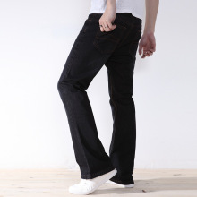Loose jeans Men's black plus size casual Jeans Pants men's baggy jeans black wide leg fat micro flares  male Denim trousers