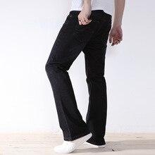 Свободные джинсы мужские размер черный плюс случайные Джинсы Брюки мужские мешковатые джинсы черные широкие ноги жира микро вспышки мужской Джинсовой брюки