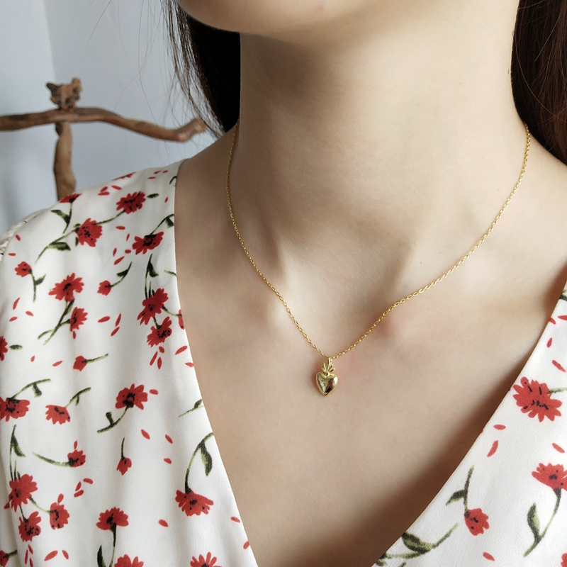 fe04852c648a LouLeur 925 Plata de Ley corazón piña colgante collar oro diseño creativo  encanto Collar para ...