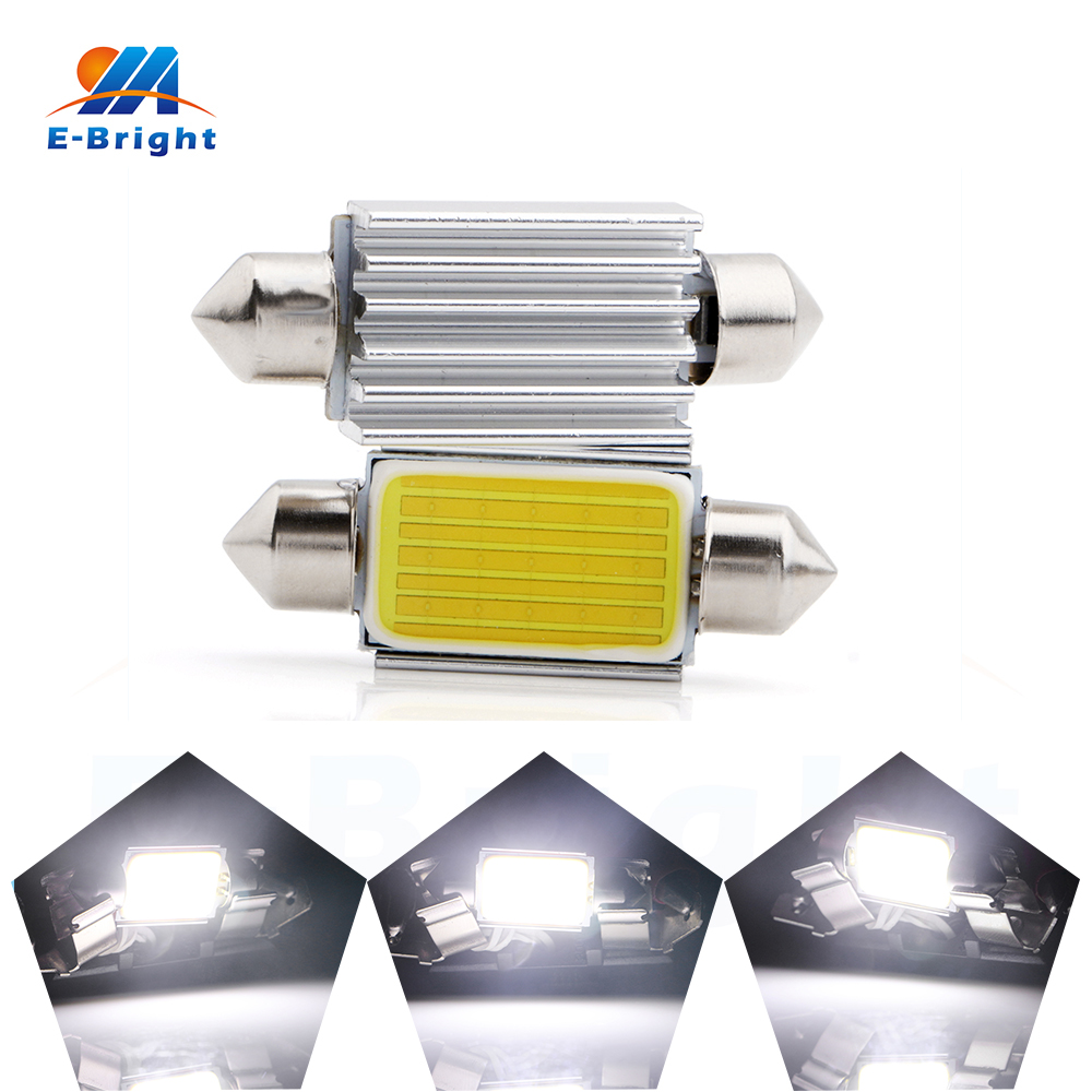 6/20pcs 39mm C5W COB 15SMD Festoon Canbus NO ERROR 6500K DC12V Bulbs Dome Roof Lights Reading Nonpolarity White