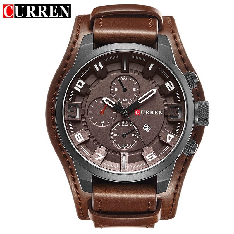 Prix pour Curren Hommes de Casual Sport Quartz Montre Hommes Montres Top Marque De Luxe Quartz-Montre Bracelet En Cuir Militaire Montre-Bracelet mâle Horloge
