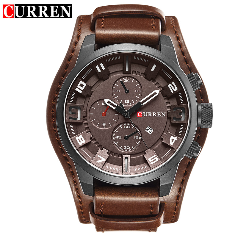 Curren Men's Casual Sport Quartz Watch Mens Watches Top Brand Luxury Quartz-Watch Leather Strap Military Watch Wrist Male Clock 2017 curren mens watches top brand luxury military wrist watch men sport clock male leather strap quartz watch relogio masculino