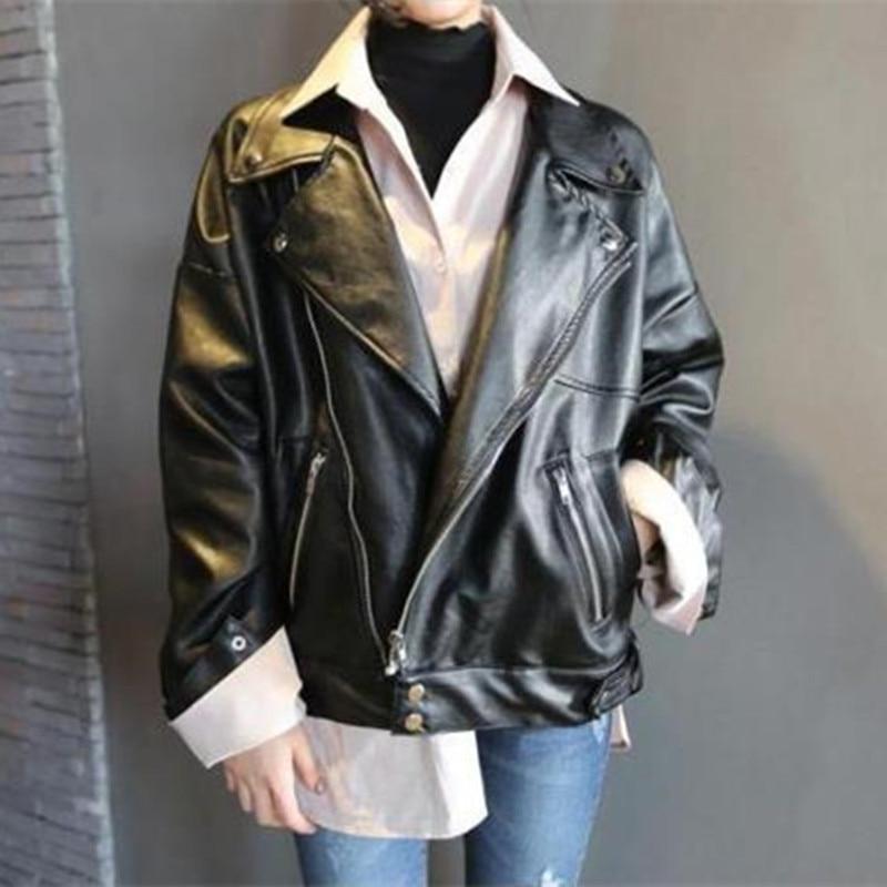 Boyfriend Style 2019 Women Pu Faux   Leather   Jacket Autumn Oversized Loose Female Outwear Coat Turn Down Collar