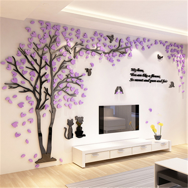 Attractive Creative Couple Tree 3D Sticker Acrylic Stereo Wall Stickers Home Decor TV  Backdrop Living Room Bedroom
