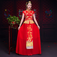 Noble Chinese Style Women Flower Cheongsam Embroidery Short Sleeve Qipao Bride Wedding Dress Marriage Gift Oversize XS 3XL
