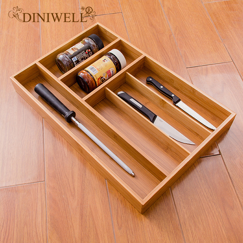 DINIWELL 5 Grid Kitchen Cutlery Storage Box Bamboo Drawer Organizer Sundries Tray For Tableware Fork Spoon