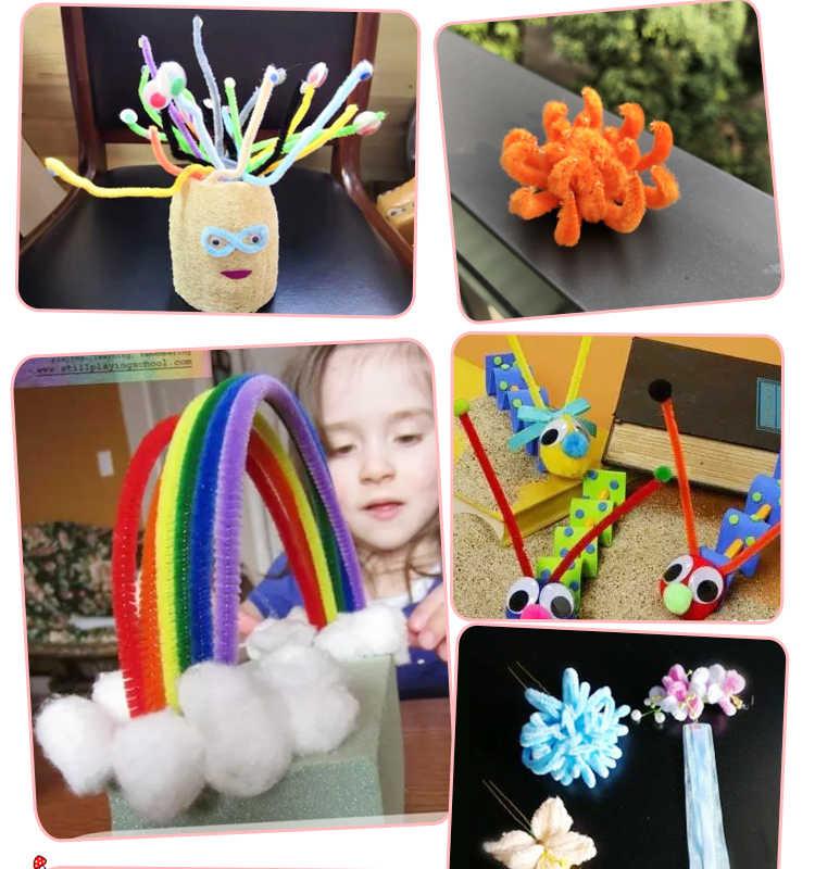 100 pcs ที่มีสีสัน Chenille ท่อทำความสะอาดท่อเด็กของเล่นคริสต์มาสตกแต่งศิลปะ DIY หัตถกรรม