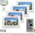 Waterproof(IP65)1v4 Fingerprint Fecognition unlock Video door phone intercom system doorbell fingerprint outdoor camera!