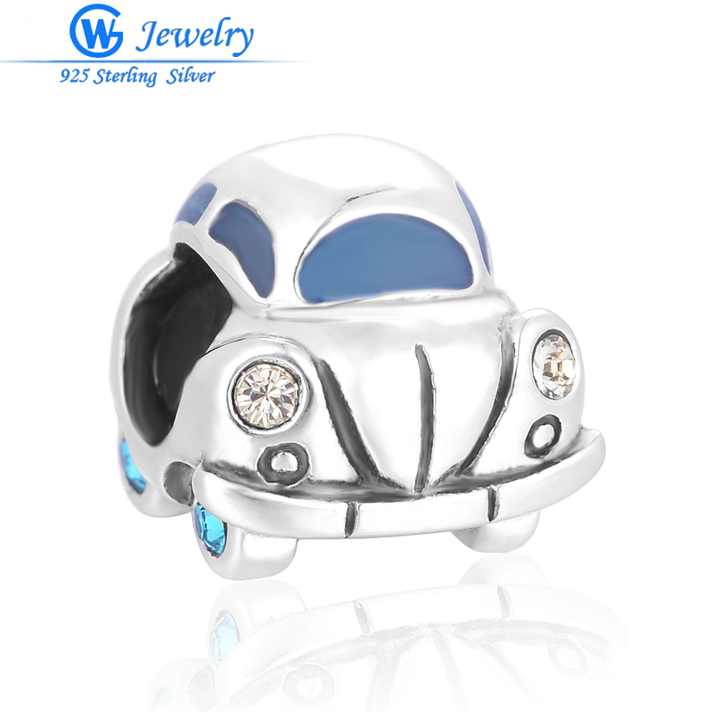 925 Silver Beetle Car Beads Fit the Fit European Brand Charms Original Bracelet Jewelry Making berloque GW Jewelry D123H20 брелок gw jewelry