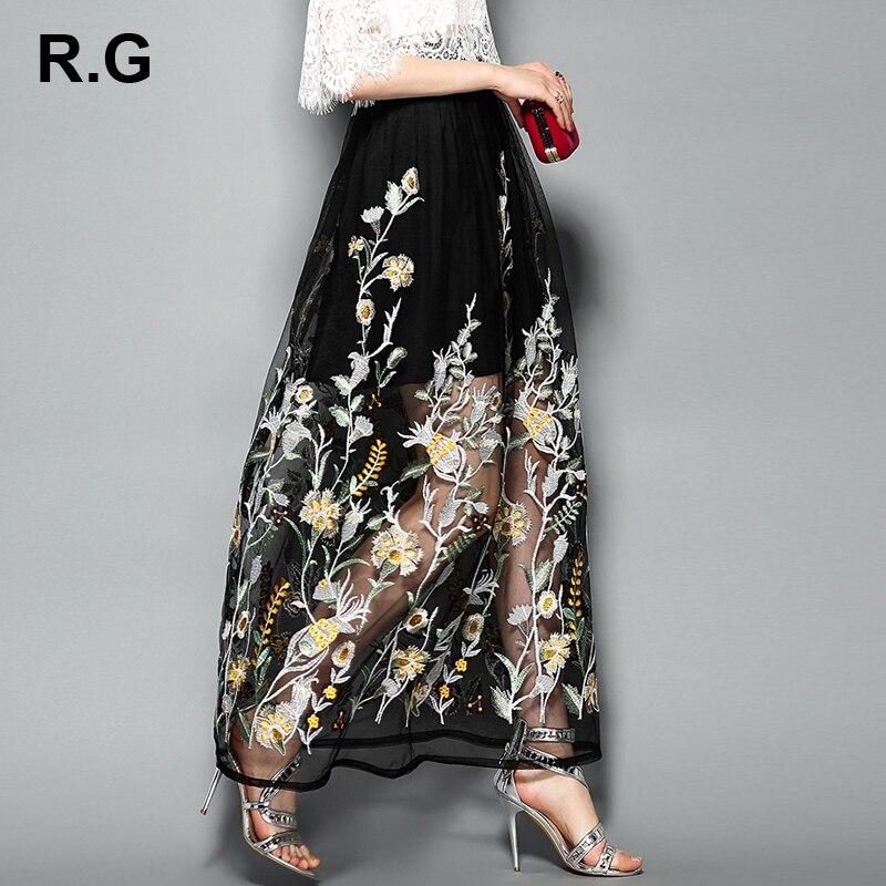 RG bohème Maxi plage jupes femmes été nouveau 2018 élégant imprimé Floral broderie dame longue Grenadine dentelle jupe