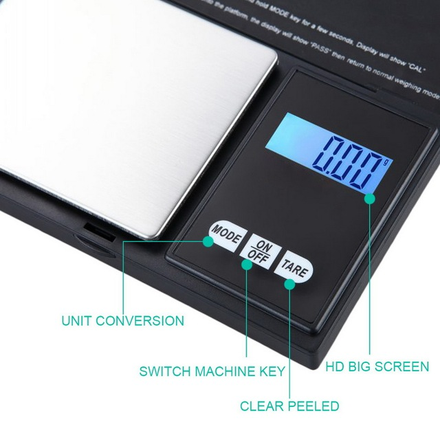 Urijk 1Pcs Precise Digital Scale 100/200/300/500/1000g 0.01/0.1g LCD Display Pocket Gram Weight 2
