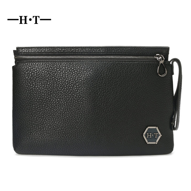 HT Genuine Cow Leather Day Clutches Men Carry Bags Male Long Purses Black  Handbag Envelope Bag 481596c9cf2e
