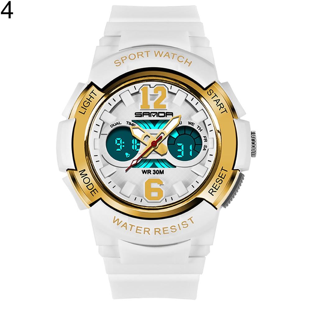 Модная детская одежда унисекс световой сигнализации Водонепроницаемый цифровой Дисплей Спорт Электроника наручные часы - Цвет: White  Golden