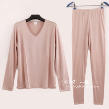 Top women's mulberry silk double faced knitted silk underwear set autumn and winter long-sleeve sleepwear pants thickening