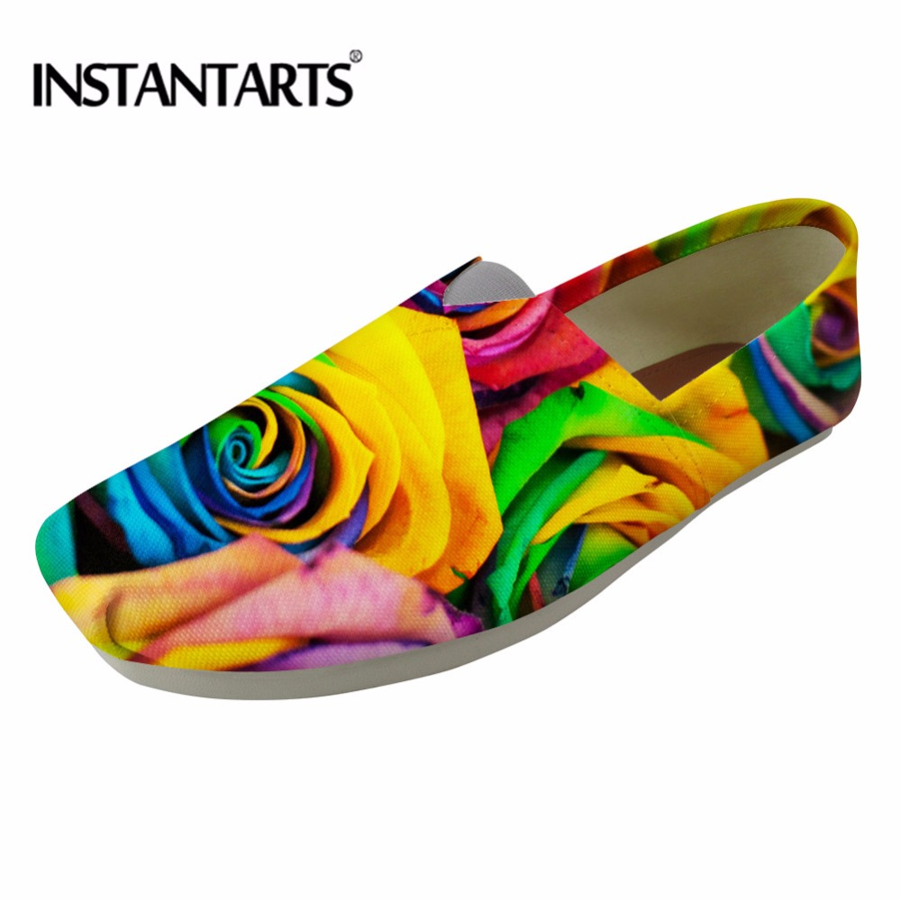 INSTANTARTS 2018 New Fashion Women Casual Loafers Floral Prints Slip On Flat Canvas Shoes for Ladies Light Weight Summer Flats