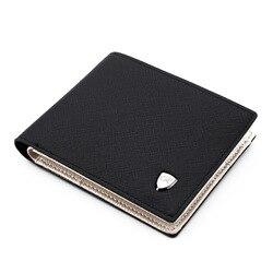 Men Wallets Fashion Solid Color Cross Pattern Open Multi Card Position Wallet Men Leather Purse Men Carteira Billetera Hombre