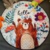 Coffee Bear Boy Playmat Antiskip Carpet Girl Room Mat 150 150 Round Storage Beach Mat Outdoor