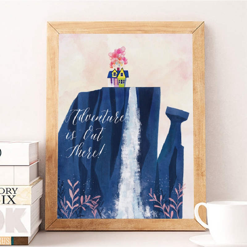 Cartoon Movie Up Balloon Fly House Canvas Print Poster Watercolor Film Adventure Is Out There Art Painting Kids Room Decor