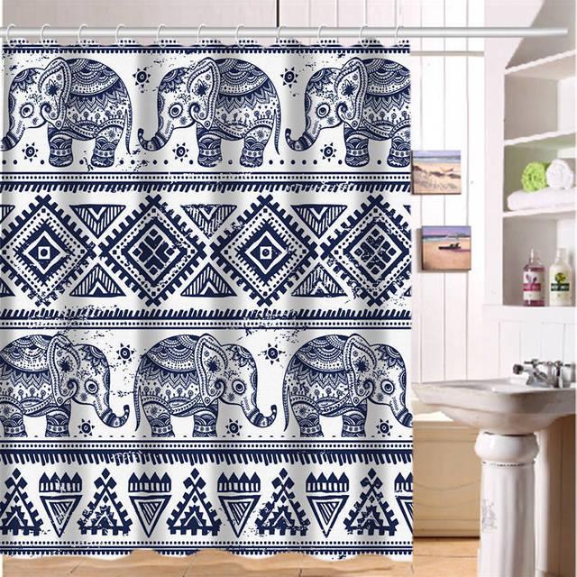 Custom Shower Curtain Elephant Art on Aztec Art Home Fabric Modern ...
