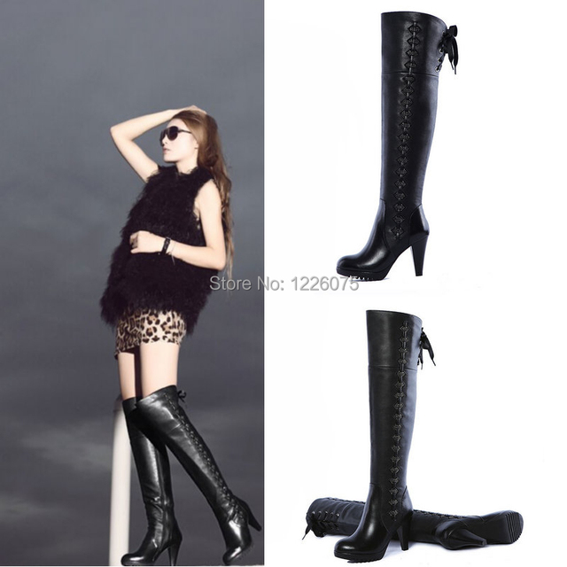 Ladies Lace UP Black Leather Thigh High Over the Knee Boots Kitten ...