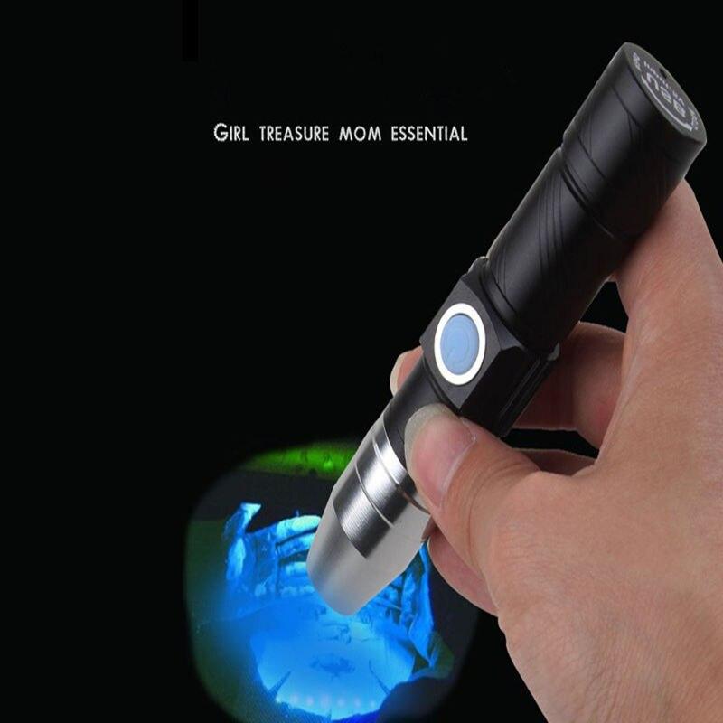 UV Flashlight 365nm Jade Flashlight USB Rechargeable For Fluorescent Detection Violet Anti-Counterfeit Money Detector Lamp