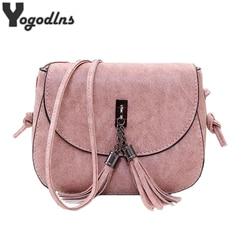 Новое поступление 2019, женские сумки-мессенджеры с кисточками, винтажные дизайнерские сумки, Высококачественная сумка на плечо, мини-сумка ч...