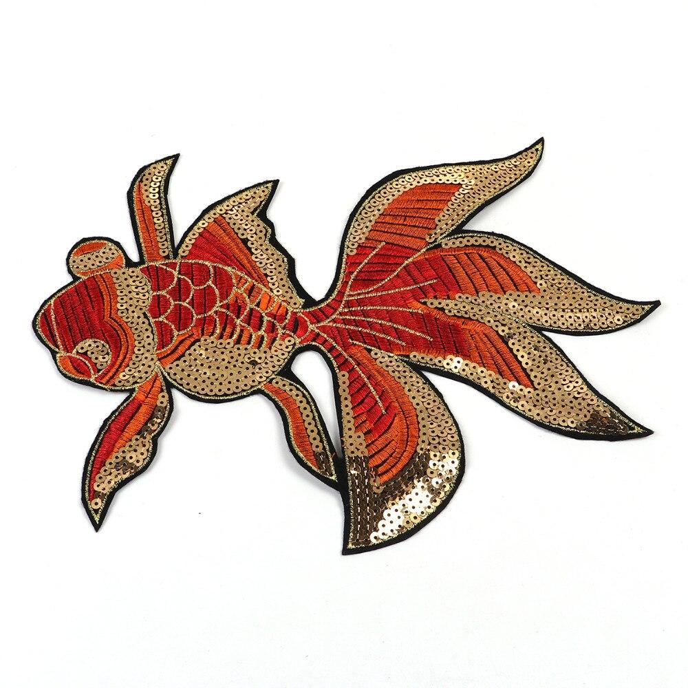 Doreenbeads Размеры S/L Золотая рыбка Блёстки Вышивка Нашивки Аппликация утюг на рыбы патч Стикеры для одежды Домашний текстиль DIY craft