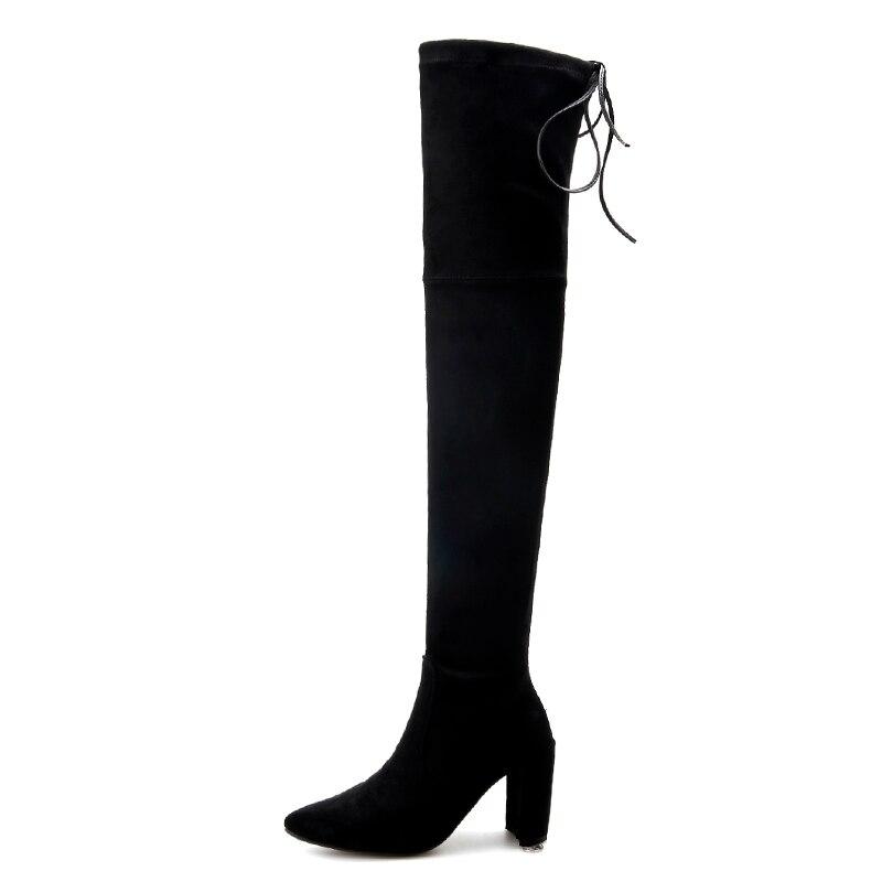 En 4 gris ardoisé Véritable Hiver À Cours Chaussures Bottes Genou Noir Croix 40 khaki 33 Couleurs Boot Hauts Taille Femmes Talons Sangle Nightcherry Cuir dq1tCtw