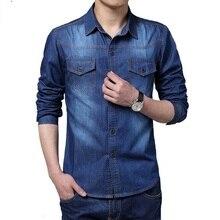 Мужчины большой Размеры джинсовые рубашки мужчины M ~ 5XL хлопковая одежда джинсы Camisa социальной masculina с длинным рукавом синий CHEMISE Homme