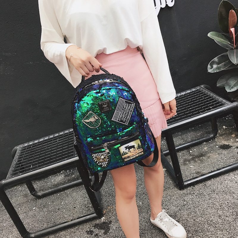 Sequin Backpack Korean version 2018 New Personality Badge Fashion Backpack Wild Casual 4