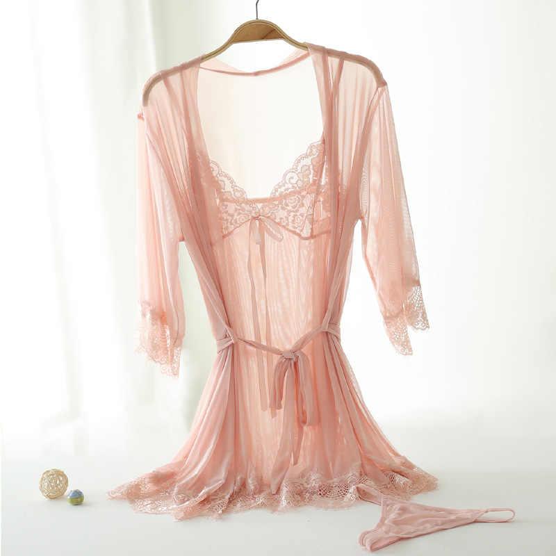 POLIPOPO New Sexy Women Silk Satin Ladies Pajamas Sleepwear&Robes Nightdress Nightgown with panties